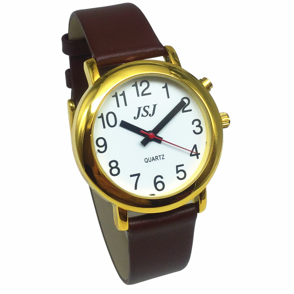 French Talking Watch With Alarm Function, Talking Date And Time, White Dial, Brown Leather Band, Golden Case TAF-506
