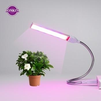 Luz LED de cultivo USB de espectro completo, 3W, 5W, CC, 5V, para invernadero Fitolampy, iluminación de plantas de plantones de vegetales, lámpara de Fito con IR UV para cultivo