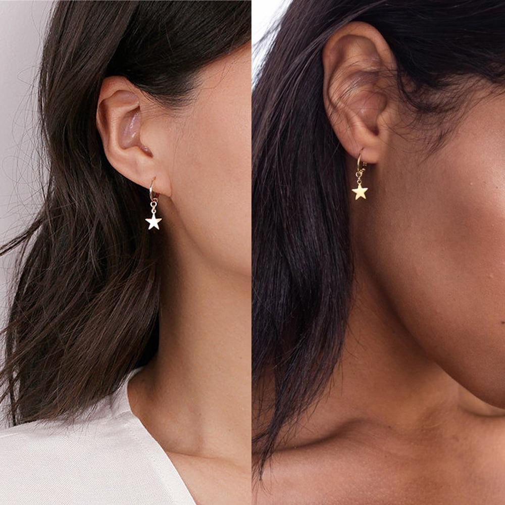 2019 New Dangle Hoop Earrings for Women Ear Piercing Huggie Earring Punk  Metal Jewelry Moon Star Hoop Earring Women's Earrings Hoop Earrings  -  AliExpress