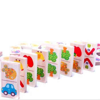 28 sztuk dzieci zabawki drewniane owoce zwierząt rozpoznać bloki domino układanki Montessori dzieci wczesna nauka i edukacja Puzzle zabawki tanie i dobre opinie 778389 5-7 lat 2-4 lat Drewna Transport Zwierzęta i Natura Made in China