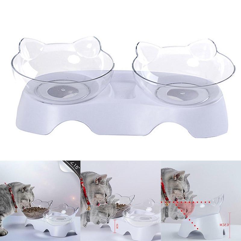 Anti-Vomiting Orthopedic Pet Bowl Cat Dog Food Water Feeder Feeding Dishes Plastic Double Non-slip Food Bowl Feeding Supplies