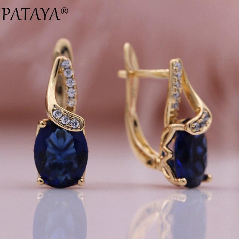 PATAYA новые 585 розовое золото ювелирные изделия микро-воск инкрустация синий натуральный циркон висячие серьги в виде капель с кристаллами в ...