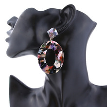 New Fashion Color Leopard Variety Acrylic Sheet Geometry Round Square Long Earrings Ladies Aretes De Mujer Modernos