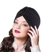 2020 Women Crinkle Twist Turban Hat Muslim Underscarf Cotton Turbante Islamic Hijab Headscarf Bonnet Arab Headwraps Indian Cap