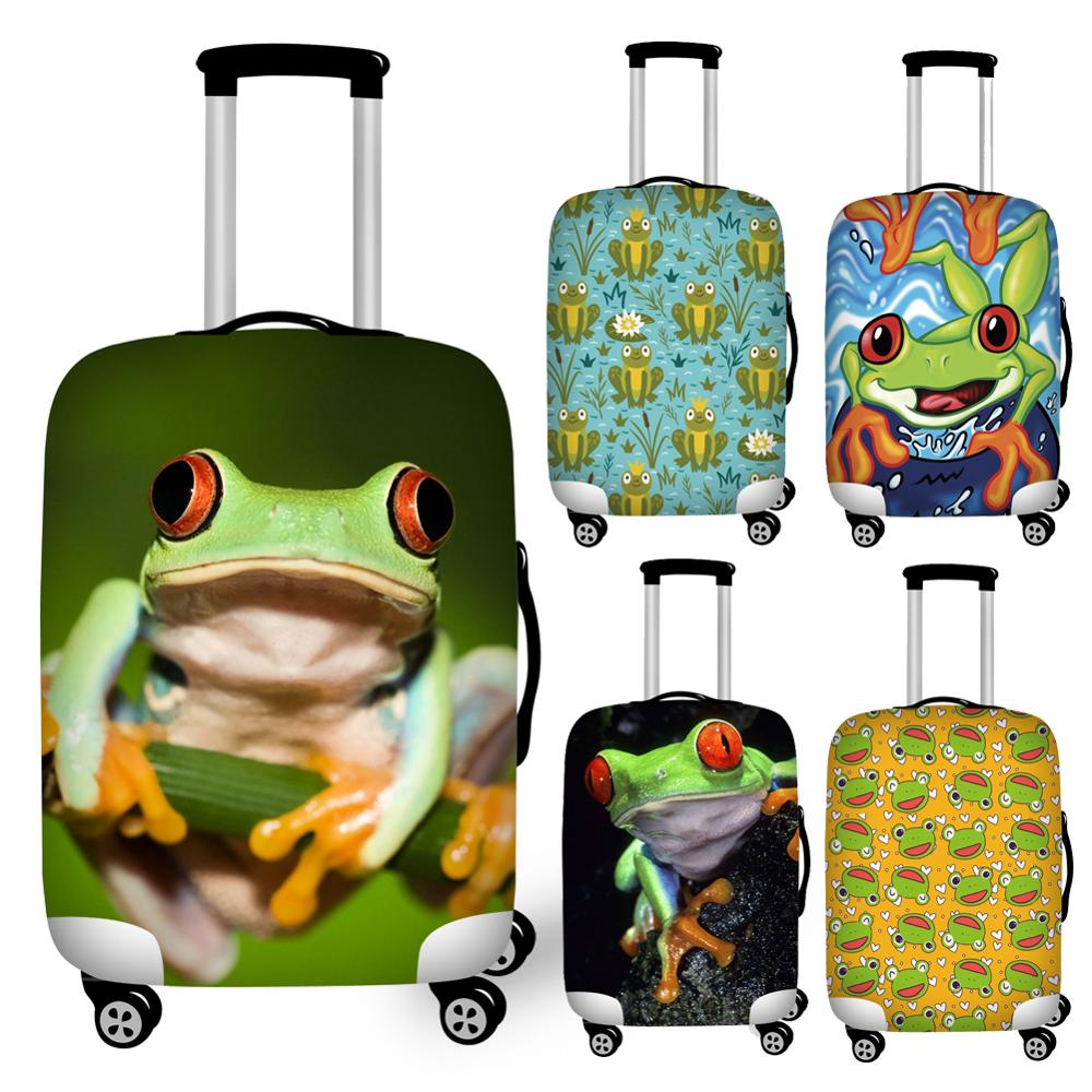 Twoheartsgirl Novelty Frog Print Travel Luggage Protective Dust Covers Elastic Anti-dust 18-32inch Suitcase Cover Baggage Covers