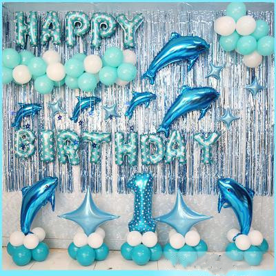 Baby Party Decorations Set The Dolphins Theme Newborn Baby Boys Girls Birthday Party Kids Boys Girls Party Decorations