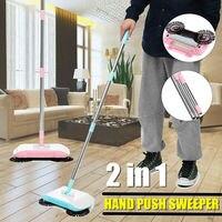 Edelstahl Kehrmaschine Push Typ Hand Push Magie Besen Kehrschaufel Griff Haushalt Boden Reinigung Hand Push Kehrmaschine Mopp|Handkehrmaschinen|Heim und Garten -