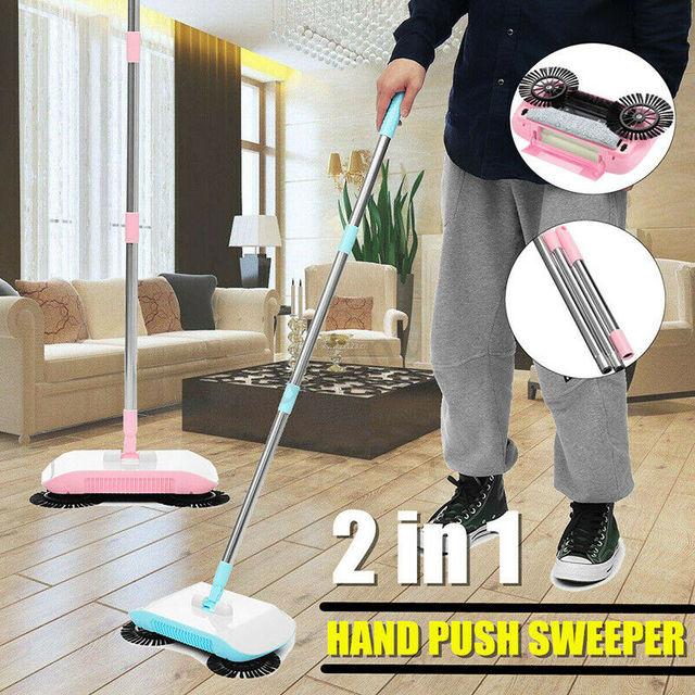 Stainless Steel Sweeping Machine Push Type Hand Push Magic Broom Dustpan Handle Household Floor Cleaning Hand Push Sweeper Mop