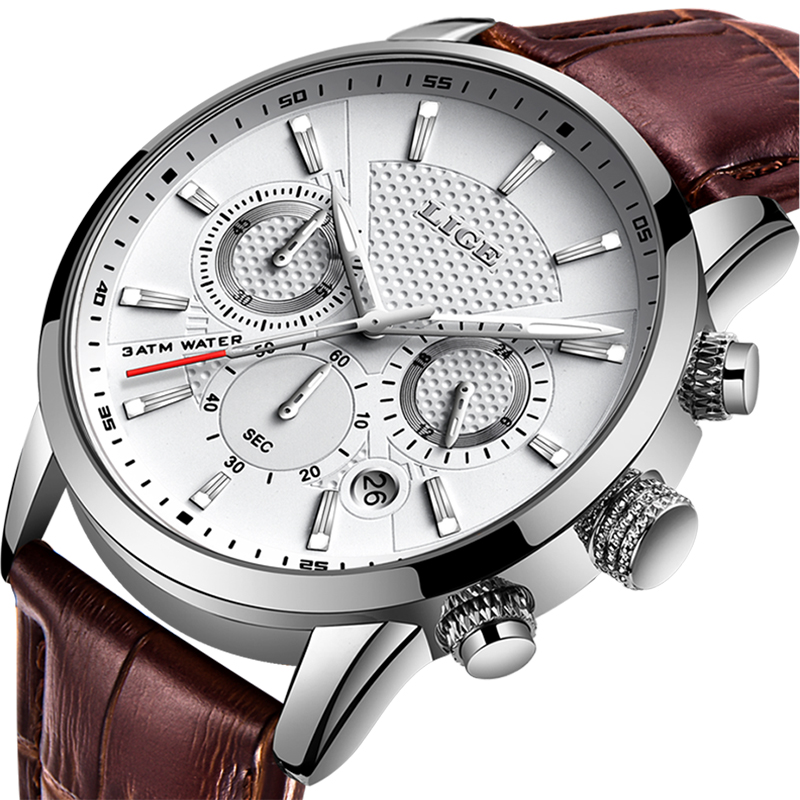 LIGE Men Watches Top Brand Luxury Male Business Waterproof Chronograph Quartz Clock Casual Leather White Watch Men Reloj Hombre