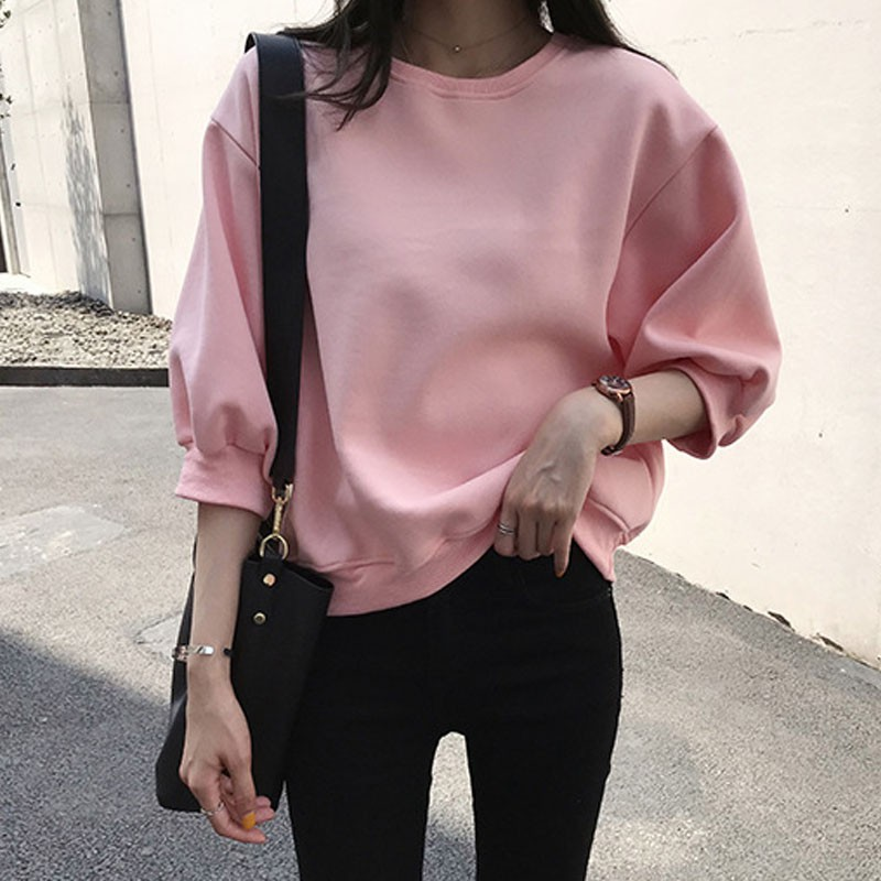 Women Candy Color Sweatshirt Three Quarter Sleeve Lazy Style O-neck Casual Solid Color Sweatshirt Without Hoodie