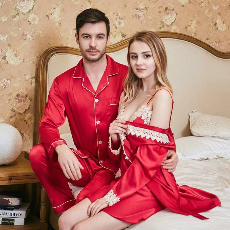 Ice Silk Satin Sleepwear Couple Pajamas Set Women Men Homewear Long Sleeve Pyjamas Long Pants Nightwear 2 Piece Sets Loungewear