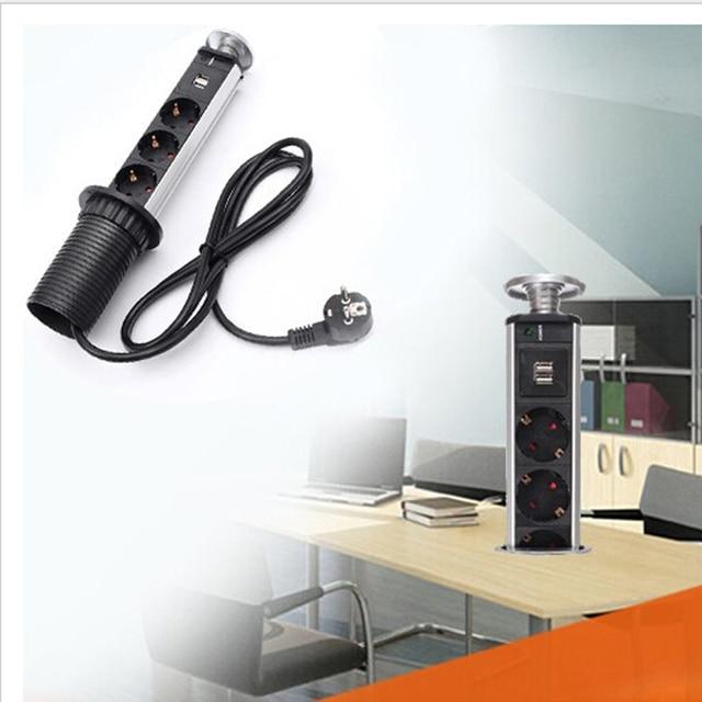 Prise de Table intelligente Pop Up tirer prises de courant avec chargeur USB prises de courant électriques de Table ue pour cuisine de bureau