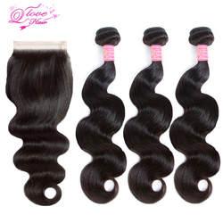 Королева Любовь волосы перуанские пучки волос с закрытием тела волна человеческие волосы пучки с закрытием не Реми дешевые пакеты волос