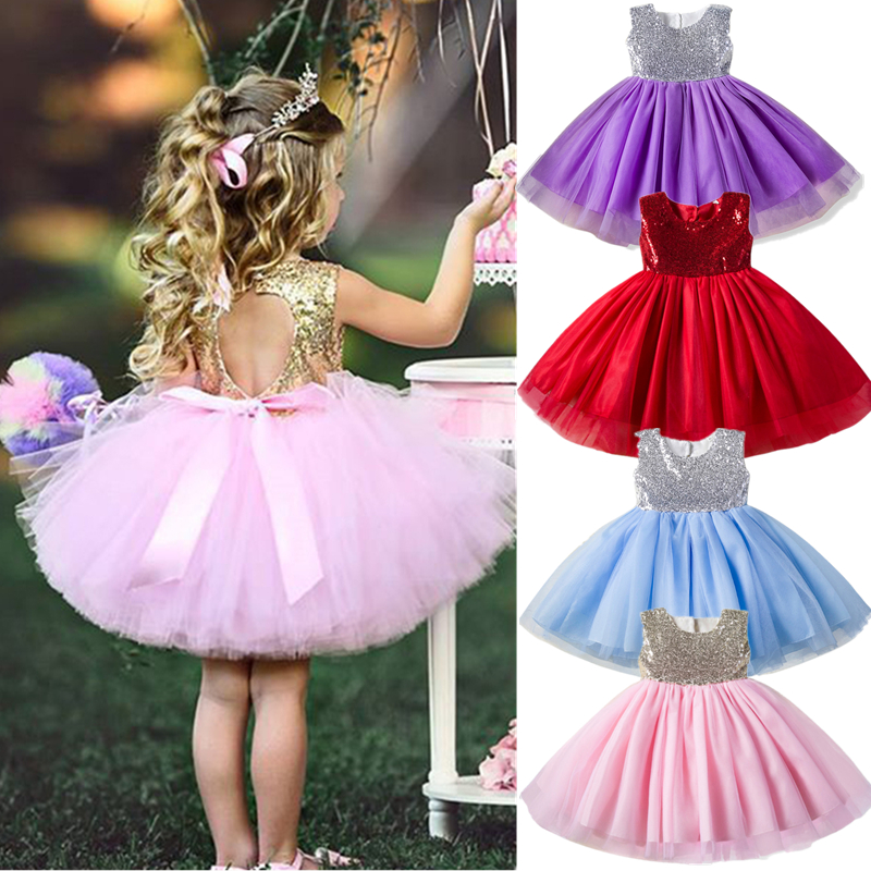 Toddler Girl Sequined Backless Princess Dress 1 Year Baby Girl Birthday Dress Tutu Party Dress Baby Girl Dress Infant Vestidos