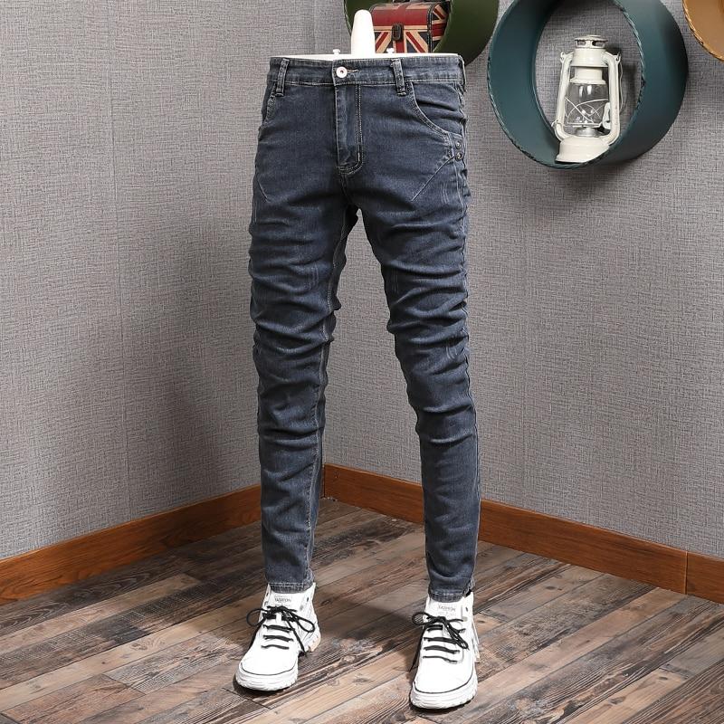 Nowo designerskie modne dżinsy męskie niebieskie w stylu Retro szare Slim Fit elastyczne spodnie jeansowe ołówkowe spodnie w stylu koreańskim Streetwear