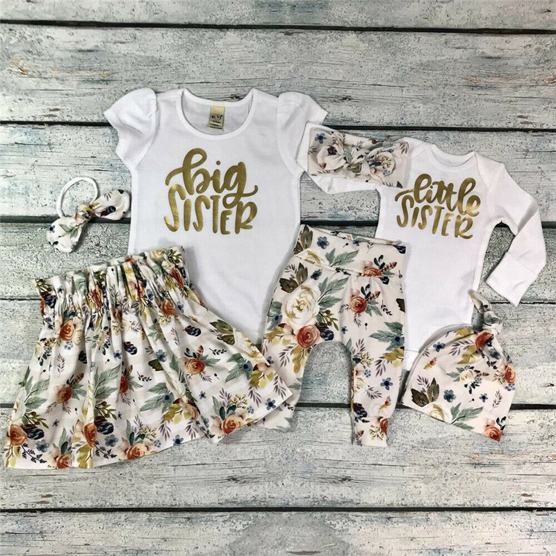 PUDCOCO Baby Girl Little Big Sister Match Clothes Romper T-shirt Pants Tutu Dress Outfit