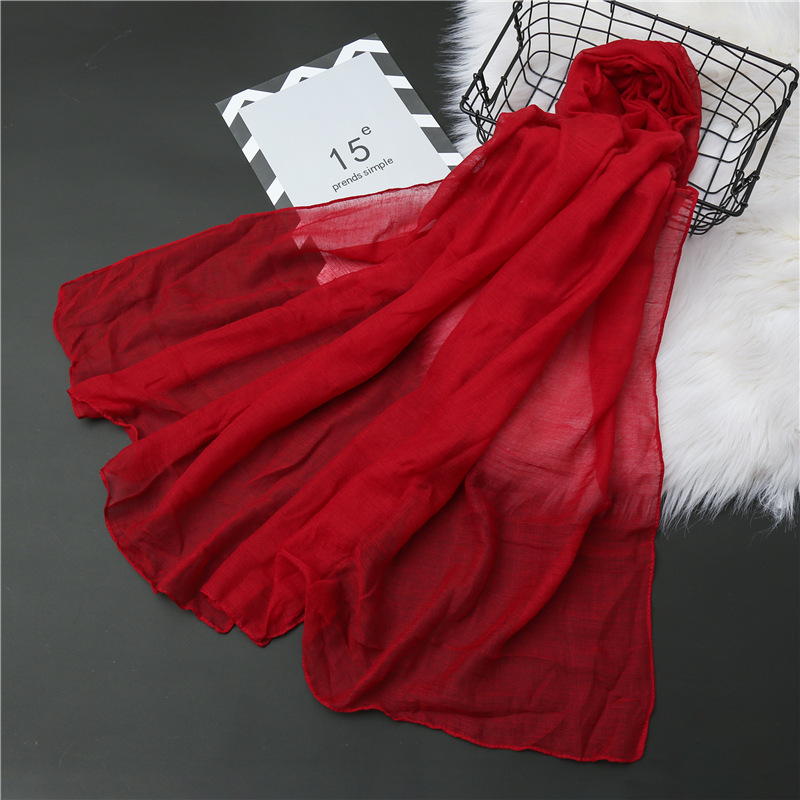 Summer Plain Bubble Cotton Scarf For Women Soft Hijab Solid Pashmina Foulard Shawls Wraps Winter Scarves Stole 2020 New
