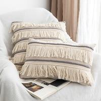 Boho fronha fronha fronha algodão linho voltar apoio fronhas decorativo macrame borla almofadas de escritório em casa cobre