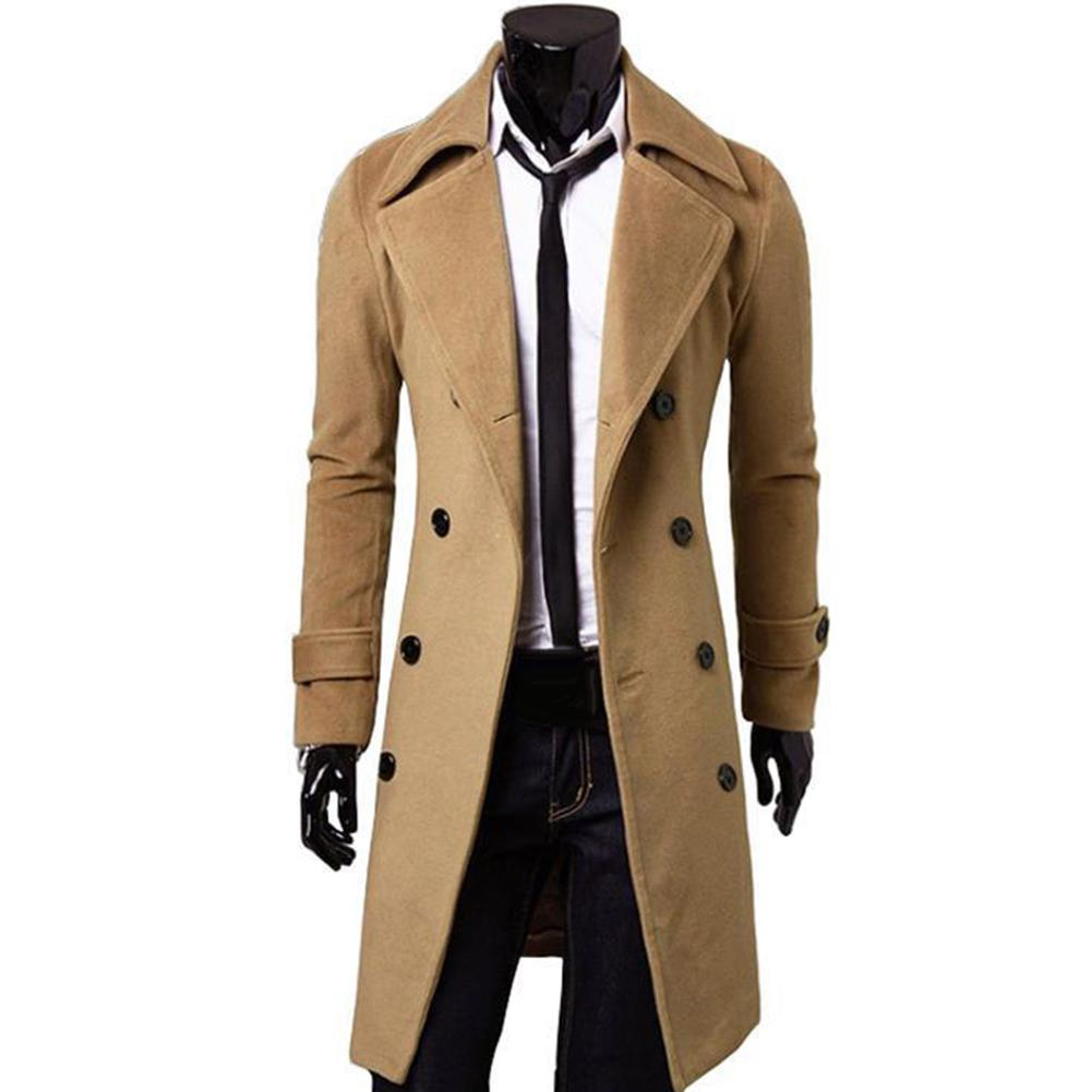 Fashion Coat Men Wool Coat Winter Warm Solid Long Trench Jacket Breasted Business Casual Overcoat Parka