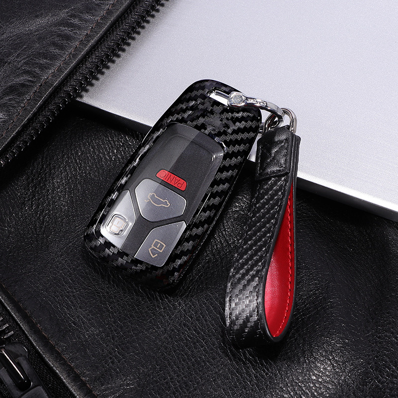 Scratchproof Carbon fiber+PC Car Key Cover Case For AUDI A4 B9 Q5 Q7 TT TTS 8S 2016 2017 Auto Key Shell Key Protection Keychain image