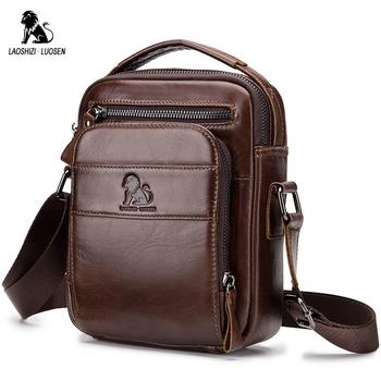 LAOSHIZI LUOSEN Genuine Cow Leather Messenger Bags Men Flap Casual Solid Handbags Multi-pocket Small Male Shoulder Crossbody Bag