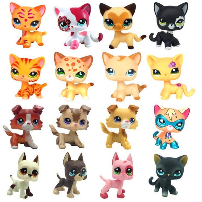 Pet Shop Lps Toys Standing Littlest Short Hair Cat #2291 White Pink Glitter kitty Anime Figure Dolls Dragon Ball