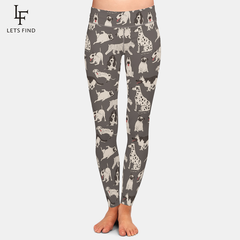 LETSFIND Super Soft Milk Silk Printing Cute Dogs Design Plus Size Leggings Fashion High Waist Fitness Elastic Women Leggings