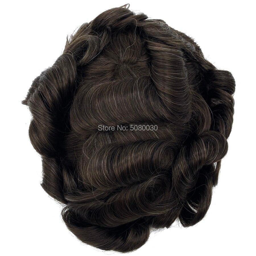 100% cheveux humains base taille 8x10 pouces dentelle avant hommes toupet gros indien remy cheveux humains toupet - 4