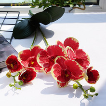 Luxury Latex Orchid with leaves Artificial flower white Butterfly Orchids fake flower for Home Wedding Decoration flores