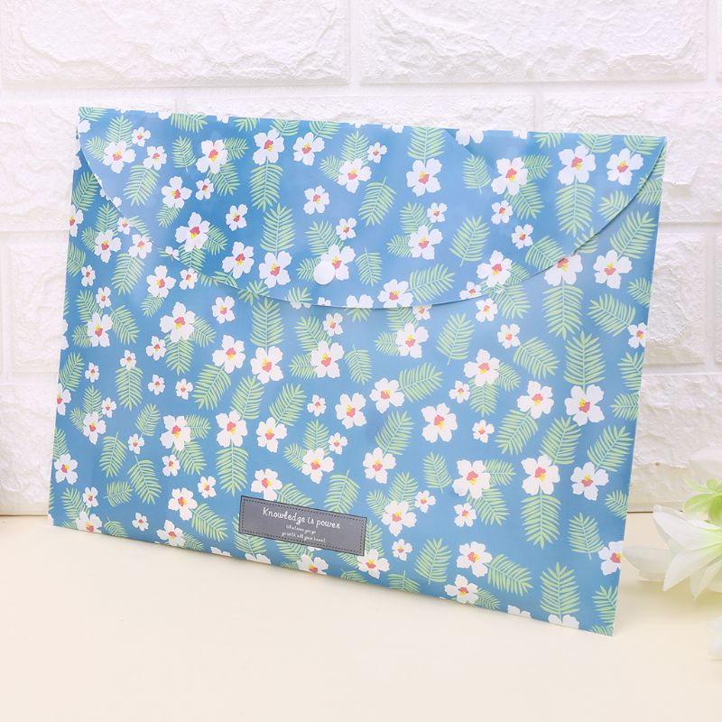 Durable Folder Snap Floral File Bag Paper A4 School Stationery Office Supplies