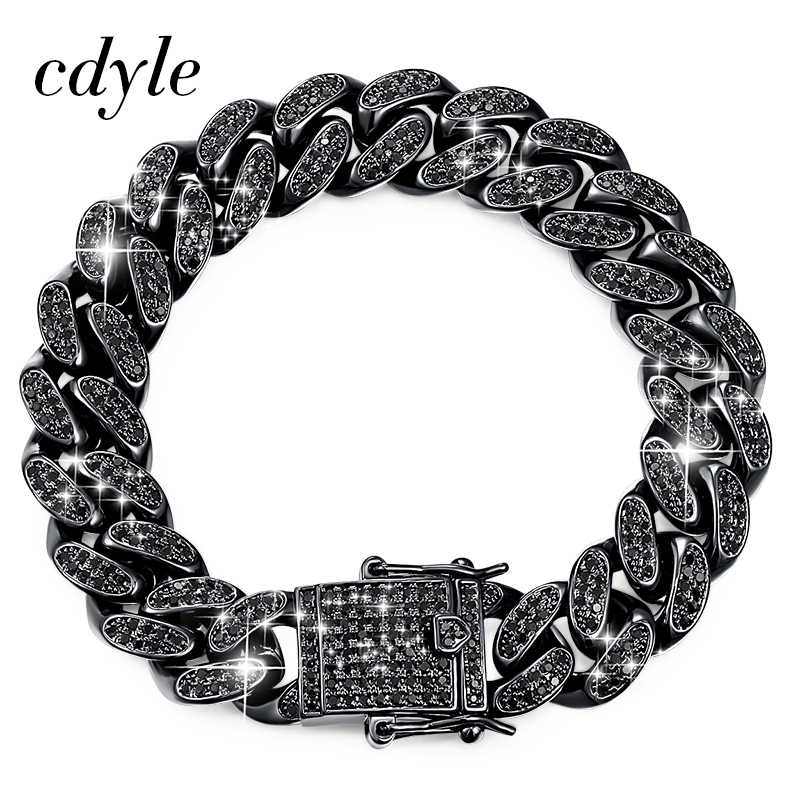 Cdyle Brand Top Quality AAA Black Cubic Zirconia Pave Cuban Link Chain Bracelet Men Punk Hip Hop Jewelry 18CM/20.5CM/22CM