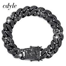 Cdyle Brand Top Quality AAA Black Cubic Zirconia Pave Cuban Link Chain Bracelet Men Punk Hip Hop Jewelry 18CM/20.5CM/22CM