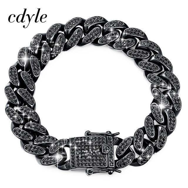 Cdyle pulseira masculina preta zircônia, corrente masculina, punk, hip hop, 18cm, marca superior/20.5cm/22cm