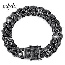 Cdyle top markowy jakość aaa czarna sześcienna cyrkonia kubańska ogniwo łańcucha bransoletka mężczyźni Punk Hip Hop biżuteria 18 CM/20.5 CM/22 CM
