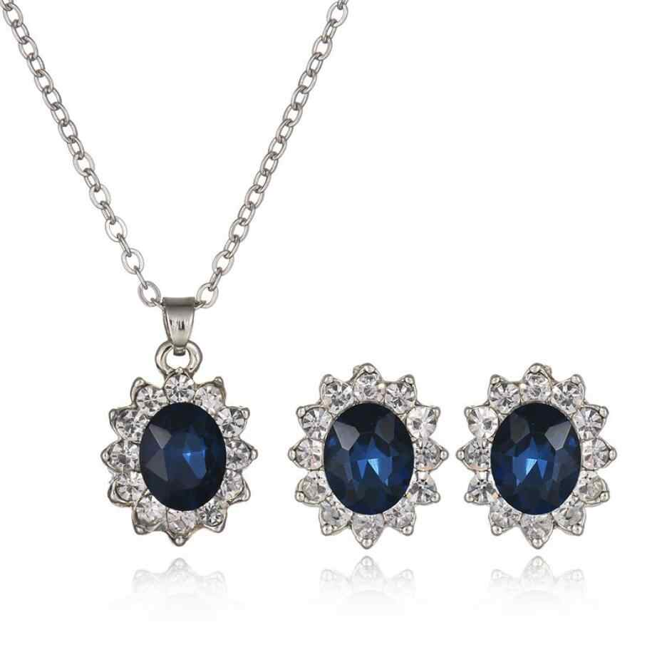 แหวนโอปอลสร้อยคอ Ear Studs ชุดโซ่ Choker สร้อยคอแหวนชุดต่างหูชุดเครื่องประดับงานแต่งงานแหวนชุดผู้หญิง