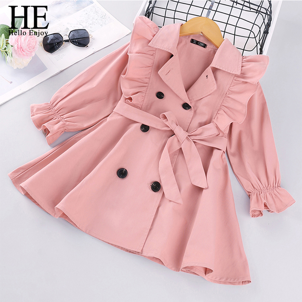 HE Hello Enjoy Toddler Girls Clothes Autumn Long Sleeve Fashion Trench Coats Children Solid Outerwear with Sashes Costume 2-6Y