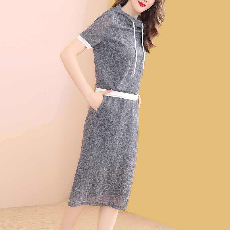 Western Style Goddess-Style Gray Hoodie Dress Outfit Women's Spring And Summer 2019 New Style Slimming By Age Two-Piece Set-