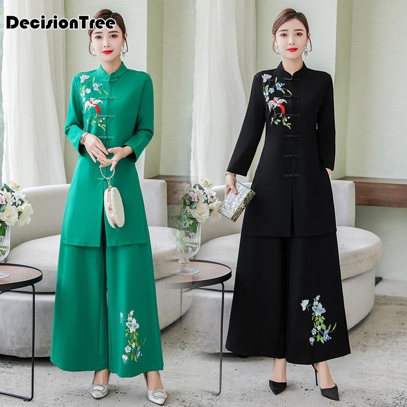 2020 Vietnam Ao Dai Traditional Dress Sets Cheongsam Dresses Cotton Linen Set Top+pants Chinoise Aodai Suit Chinese Dress