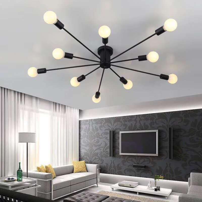 Luminaire lumineux en métal, Vintage lustre d'étoile en métal, éclairage rétro, lustres en araignée, lampe de plafond à montage Semi affleurante, luminaire à la maison