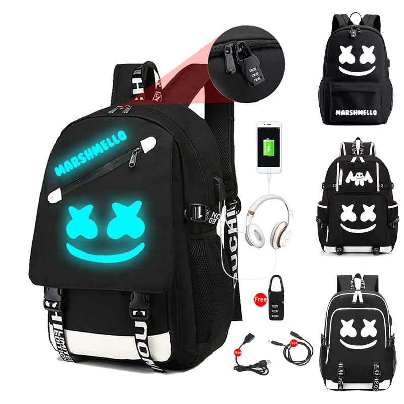 DJ Marshmallow Luminous Backpack Multifunction USB Charging Anti-theft For Teenagers Boys Girls Student School Bag Laptop Bag
