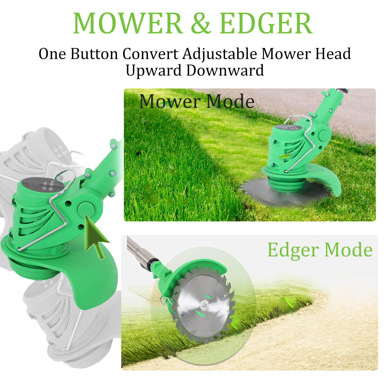 Tools : Electric Grass Trimmer Edger Lawn Mower 21V 3000mAh Lithium-Ion Cordless Weed Brush Cutter Kit Garden Tools Grass Cutter Brush