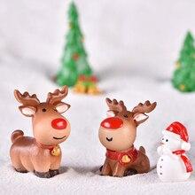 Bonsai Ornament Snowman-Figurine Micro-Landscape-Decorations Christmas Home-Decor Santa-Claus