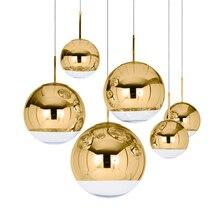 Vidro moderno led pingente lâmpada barra escadas (um a três luzes) restaurante led luzes pingente sala de estar lâmpada chapeamento esférico