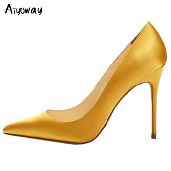 Pointed Toe High Heels Aiyoway Women Shoes Satin Pumps Spring Autumn Ladies Party Wedding Shoes Slip-On Red White Green