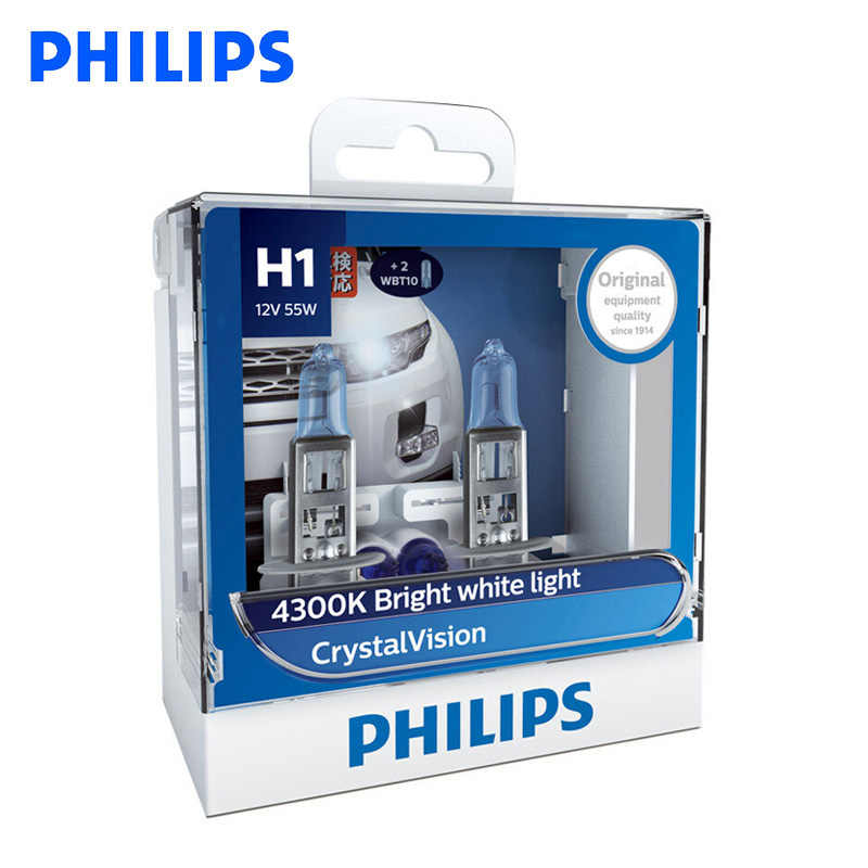 Philips H1 H4 H7 H11 9005 9006 12V Crystal Vision 4300K Bright White Light Halogen Auto Headlight Fog Lamps , Pair