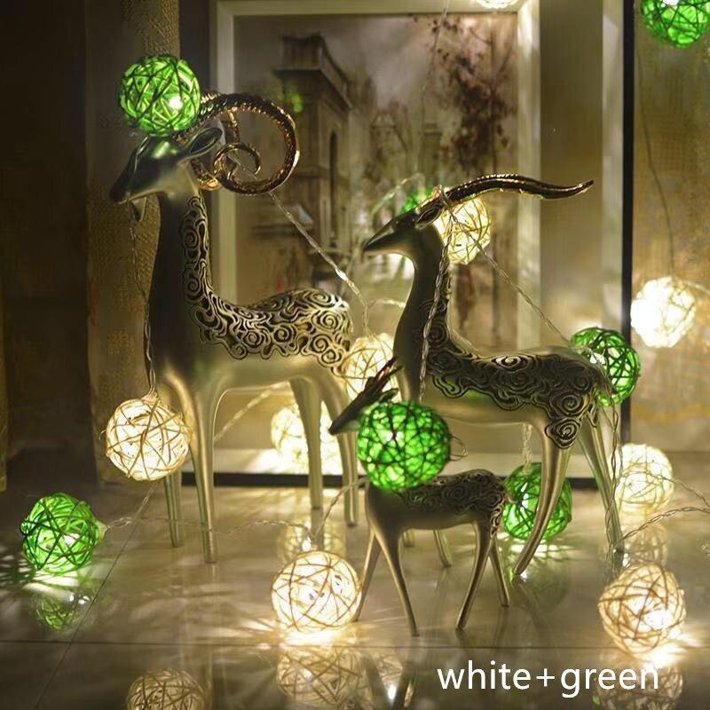 Rattan Ball Led Lights String Wedding Room Decorative Lights Christmas Festival Small Lights