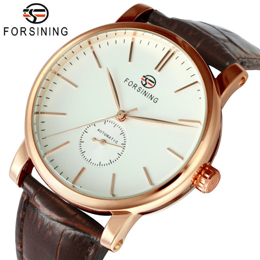 FORSINING montre en cuir pour homme, accessoire automatique, accessoire en cuir, mode Business, marque supérieure, luxe, mécanique de squelette | AliExpress