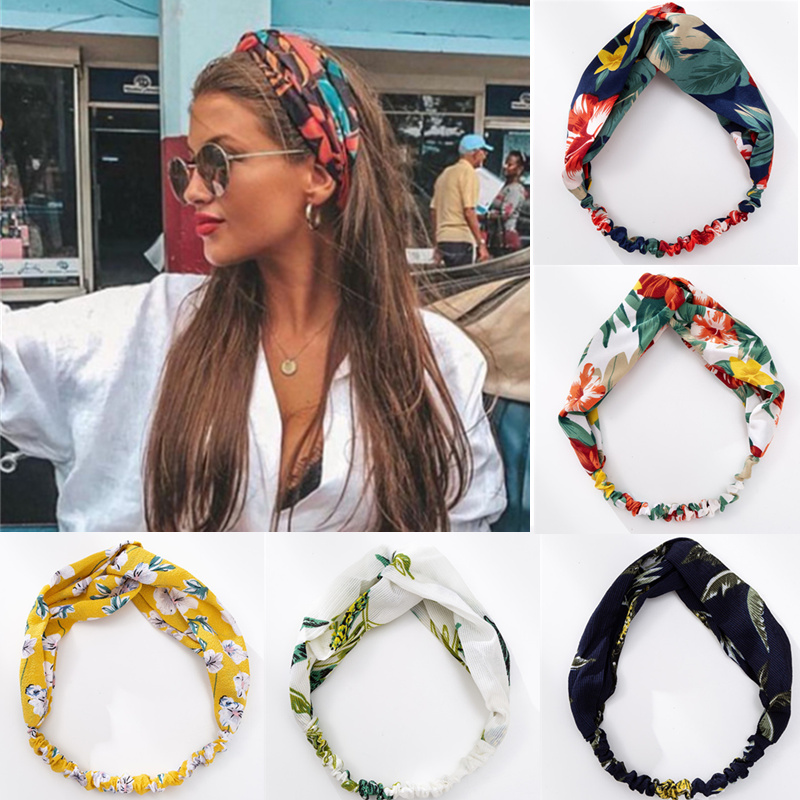 Fashion Women Girls Summer Bohemian Hair Bands Print Headbands Vintage Cross Turban Bandage Bandanas HairBands Hair Accessories image