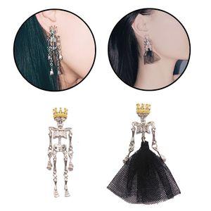 Готический панк, свадебные серьги с черепом для пары, черное платье, корона, король, королева, асимметричные серьги с черепом, ювелирные изде...