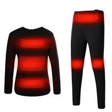 Мужское женское нижнее белье с электрическим подогревом, рубашка, брюки, комплект нижнего белья для улицы, одежда для пеших прогулок, катания на лыжах, мотоцикле, велоспорта, теплый USB